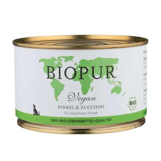 Biopur Dinkel und Zucchini veganes Nassfutter 400g Dose
