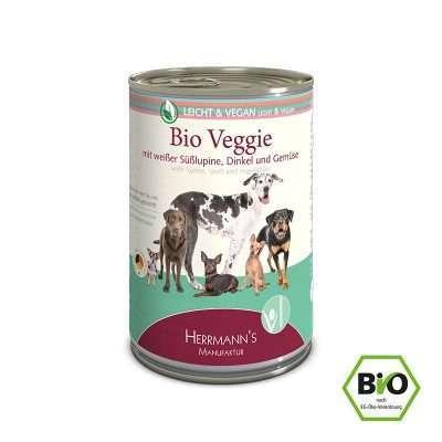 Herrmanns Bio Veggie mit weißer Süßlupine veganes Feuchtfutter 400g Dose