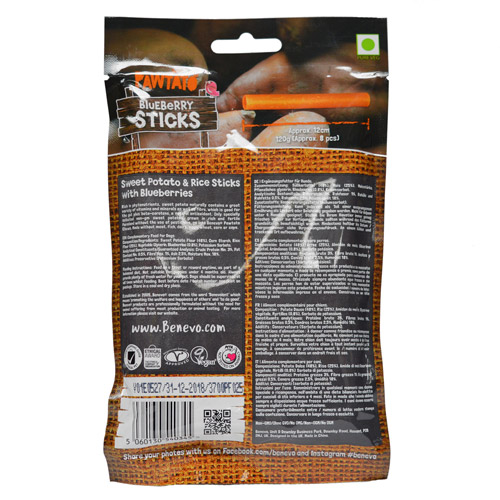 Benevo Pawtato Sticks Blaubeere vegane Kausnacks 120g | veganpaws