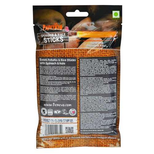 Benevo Pawtato Sticks Spinat&Grünkohl vegane Kausnacks 120g | veganpaws